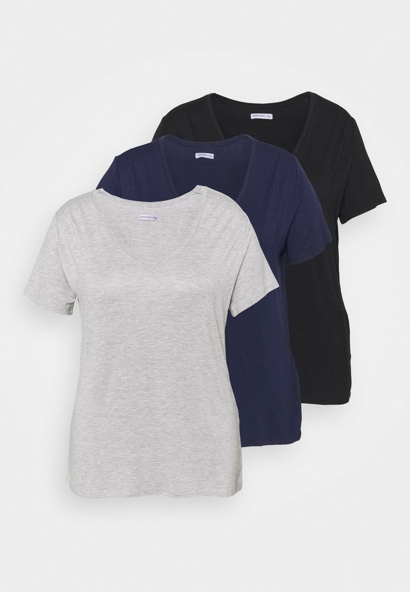 Anna Field Curvy - 3 PACK - Basic T-shirt - black/light grey/dark blue