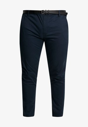 STRETCH WITH BELT - Chinos - navy