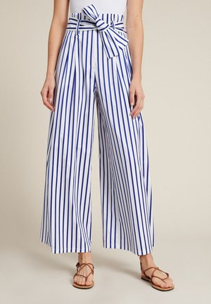 Trousers - bianco/righe azzurre