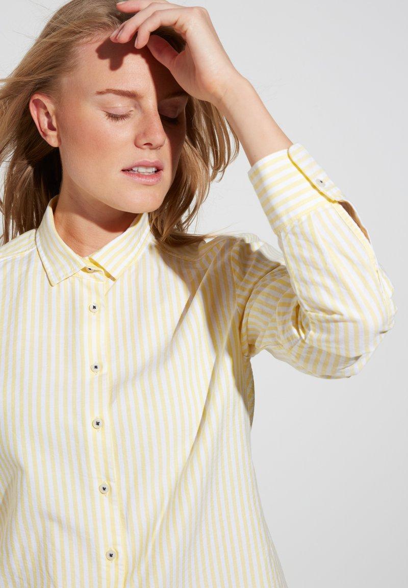 Eterna - MODERN CLASSIC - Button-down blouse - gelb/weiss
