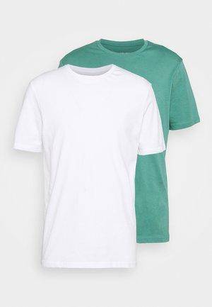 2 PACK UNISEX - Basic T-shirt - white/green
