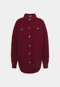 Missguided - DOGTOOTH OVERSIZED SHACKET - Button-down blouse - red - 5