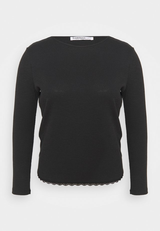 ROUND NECKLINE AND LONG SLEEVES - Top s dlouhým rukávem - black
