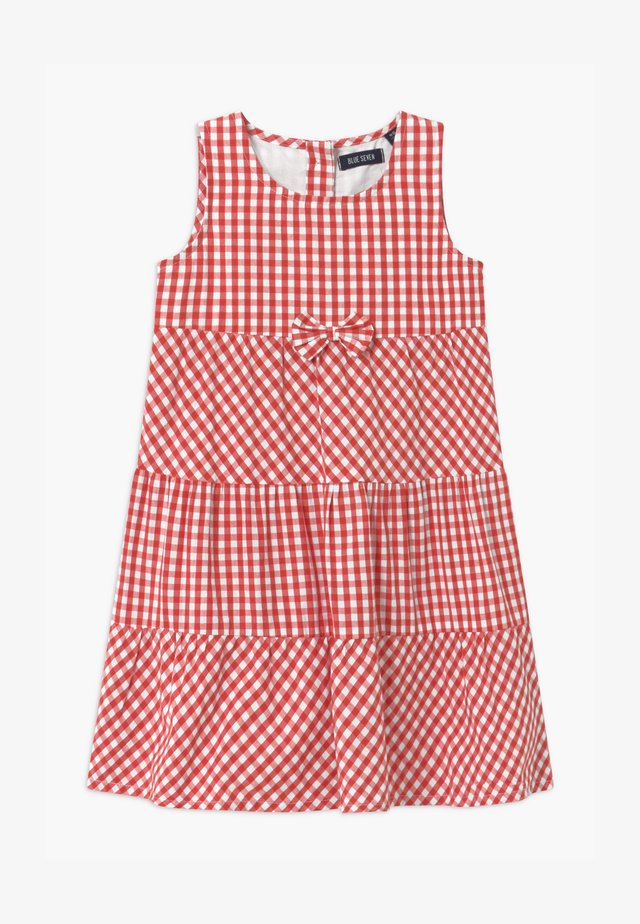 SMALL GIRLS TIERD CHECK - Shirt dress - hochrot