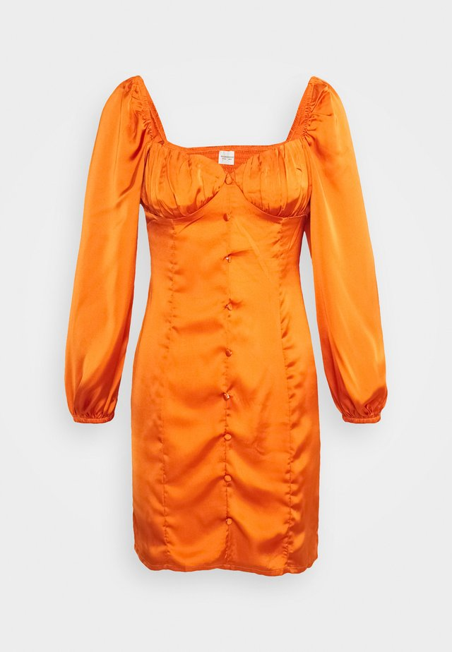 CARE BUTTON THROUGH MINI DRESS WITH PUFF LONG SLEEVES AND SWEETH - Day dress - rust
