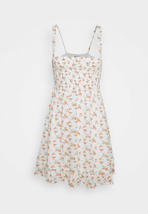 SMOCKED BABYDOLL SHORT DRESS - Korte jurk - white