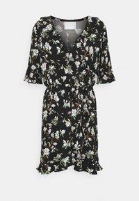 Vila - VILANA DITSY FLOUNCE WRAP DRESS - Jurk - black - 4
