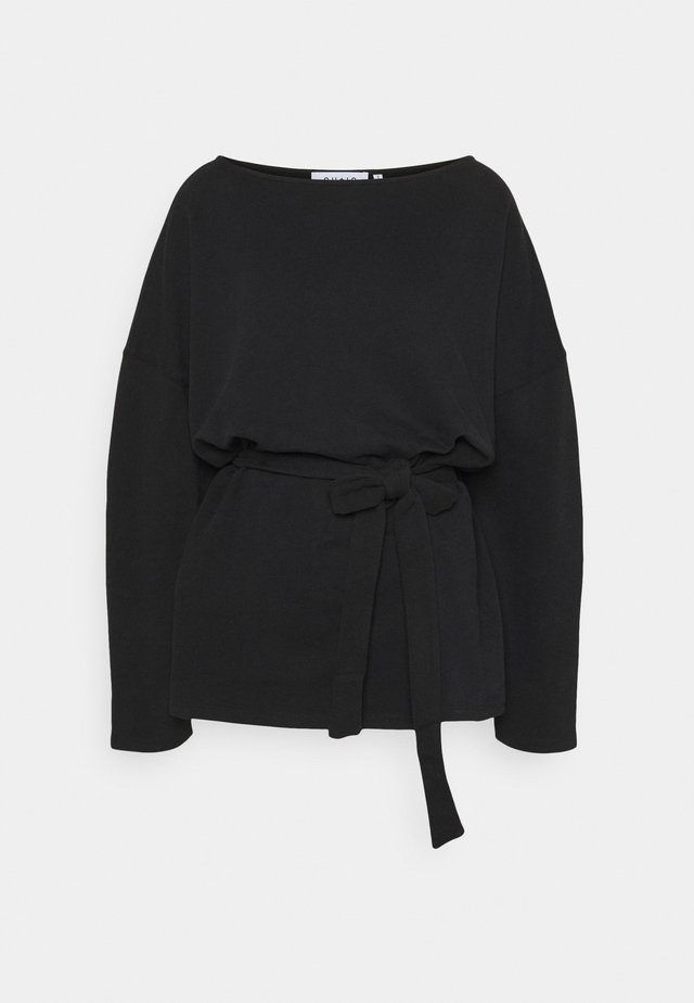 BELTED LONG SLEEVE TOP - Pitkähihainen paita - black