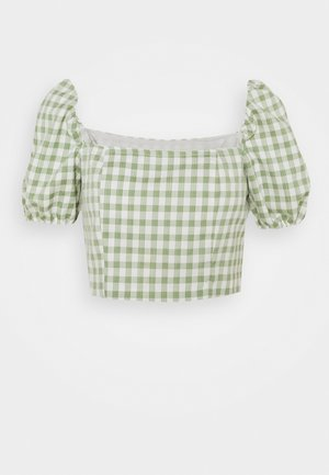 MAYA WITH PUFF SHORT SLEEVES AND LOW NECKLINE - Blusa - mint