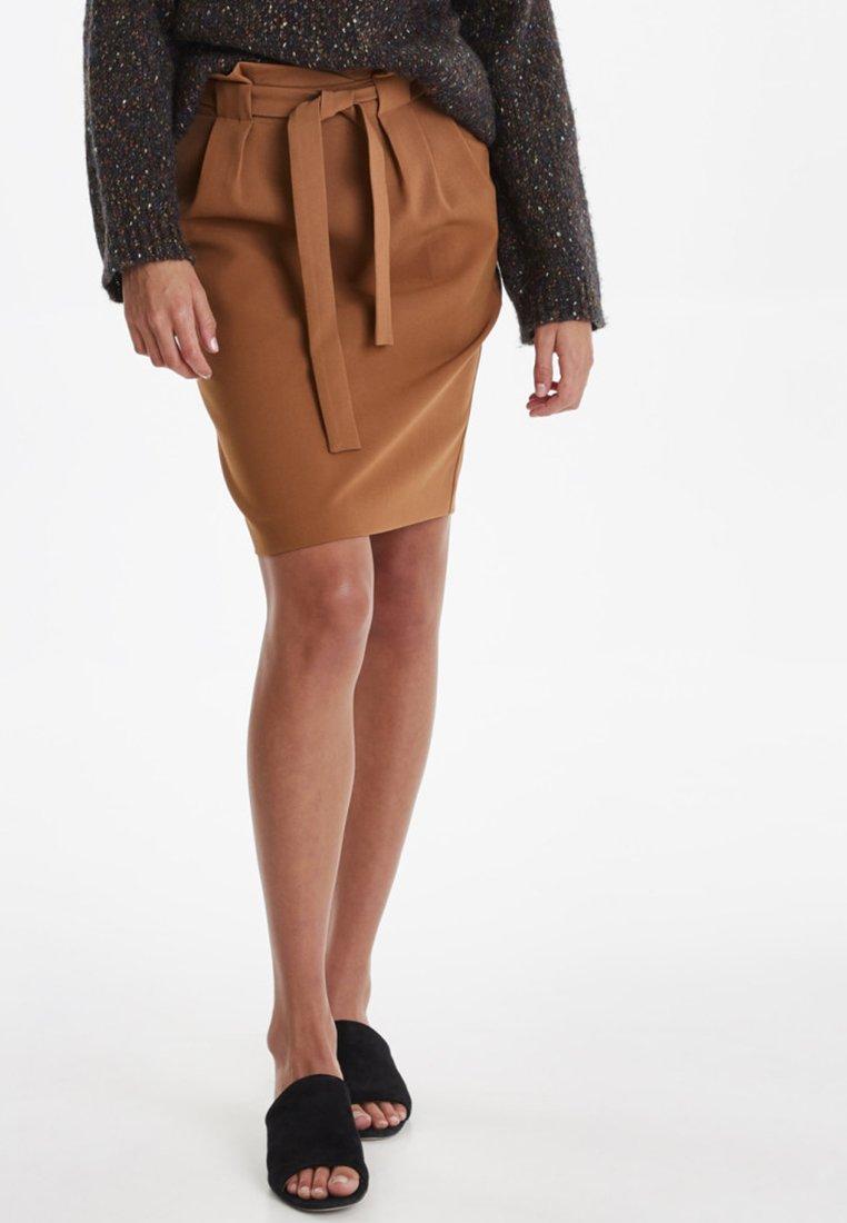 ICHI - IHUDELE - Pencil skirt - mocha bisque