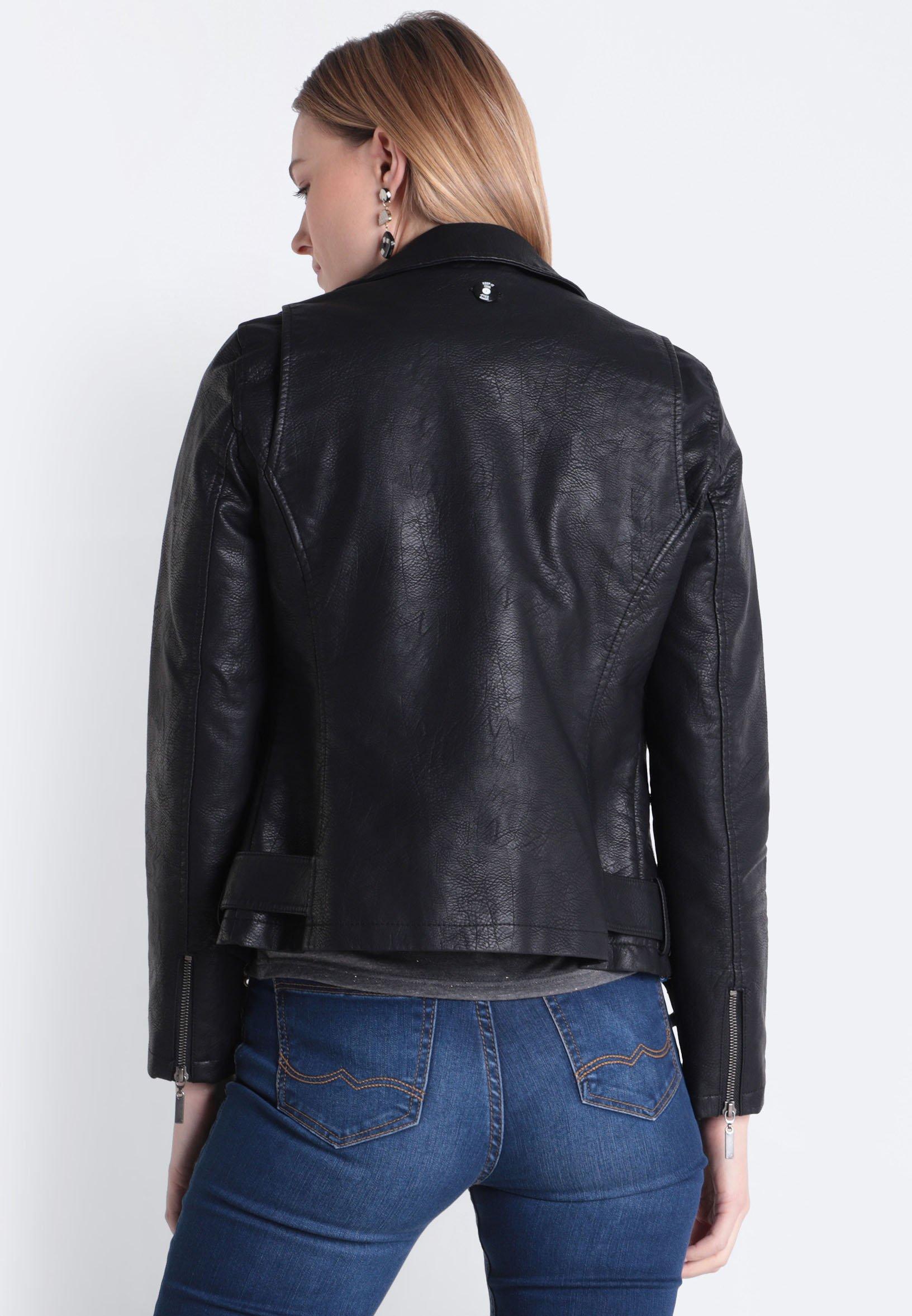 BONOBO Jeans MIT PERLENBESATZ Kunstlederjacke black/schwarz