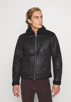 JJFLIGHT JACKET - Faux leather jacket - black