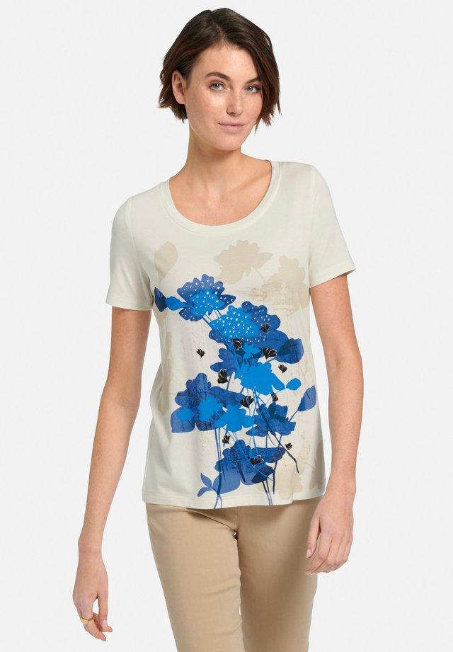 T-shirt print - offwhite/blau