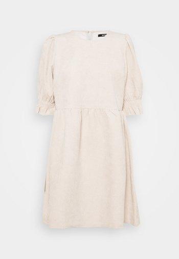 OVERSIZED SMOCK DRESS FRILL SLEEVE - Day dress - stone