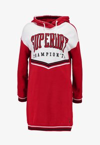 Superdry - COLLEGE HOODED DRESS - Day dress - burnt red/ice marl - 4