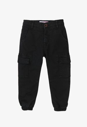 COMBAT - Cargo trousers - black/red