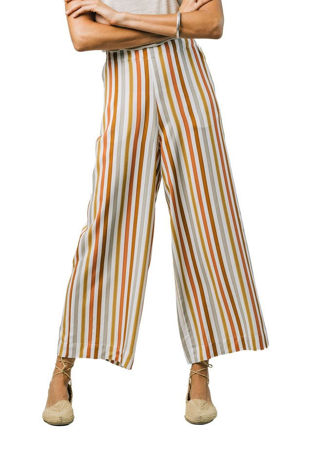 EARTHY STRIPES - Trousers - multi-coloured