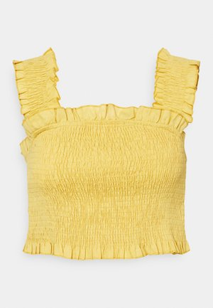 FRILL DETAIL SHIRRED CROP - Top - yellow