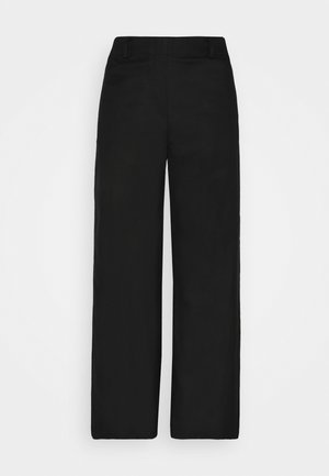 PANTS WIDE LEG MEDIUM RISE CROPPED ELASTIC AT BACK  - Kalhoty - black