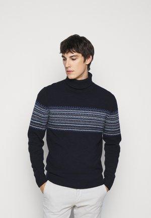 FAIRISLE ROLL NECK - Jumper - multi blue