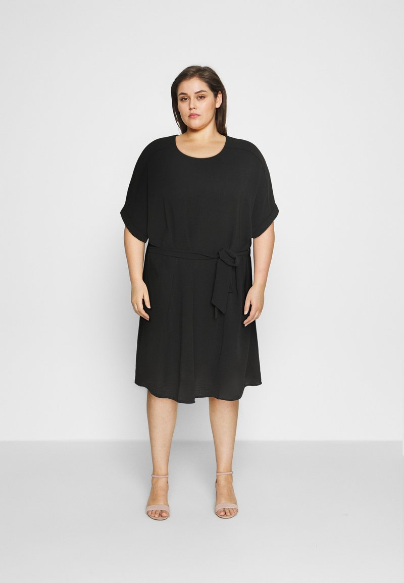 ONLY Carmakoma - CARJACKIE KNEE DRESS - Day dress - black