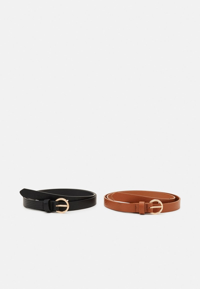 Even&Odd - 2 PACK - Belt - black/cognac