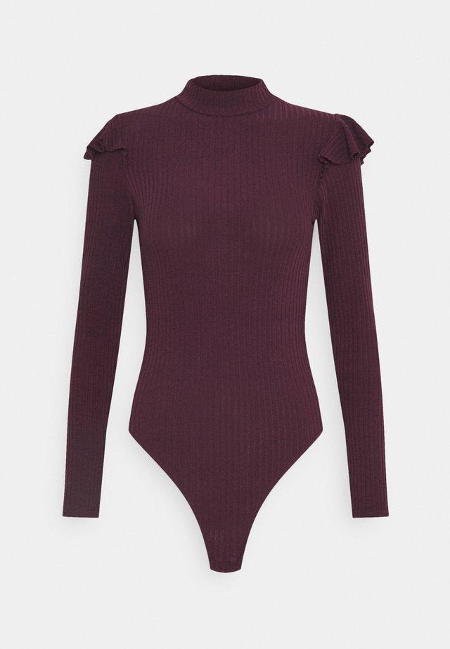 SOFT FRILL BODY - Maglietta a manica lunga - dark burgundy