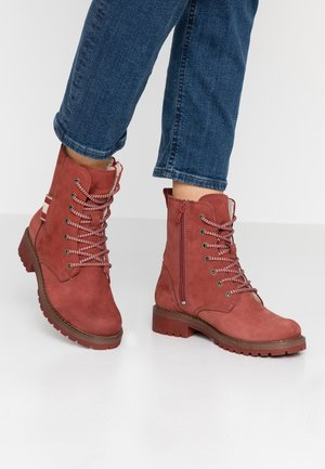 Lace-up ankle boots - brick