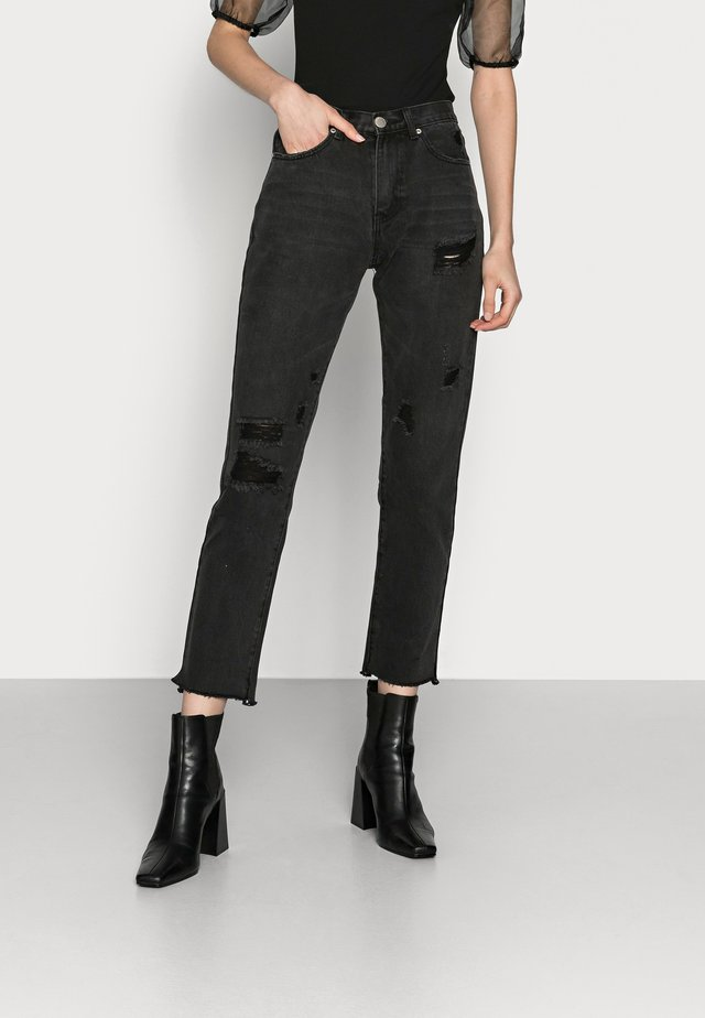 Straight leg jeans - washed black