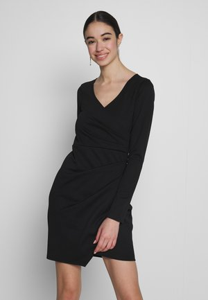 LONG SLEEVE WRAP DRESS - Etuikjole - black