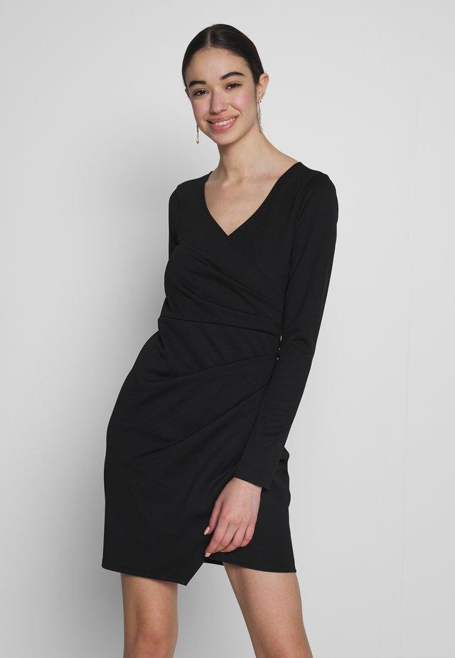 LONG SLEEVE WRAP DRESS - Sukienka etui - black