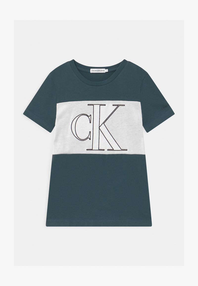 Calvin Klein Jeans - COLOUR BLOCK MONOGRAM  - Print T-shirt - blue