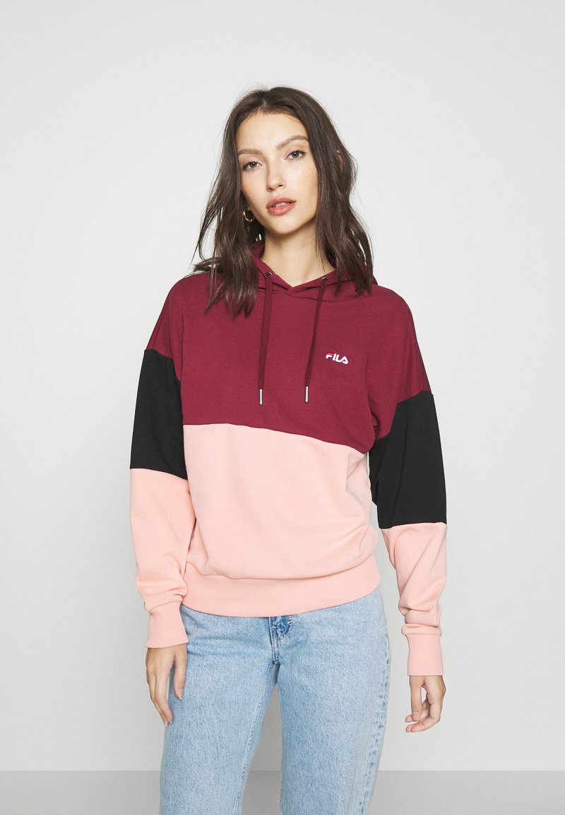 Fila - SANJA CROPPED HOODY - Hoodie - tawny port/black/coral cloud