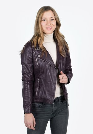 BIKER PRINCESS - Leather jacket - aubergine
