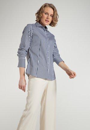 Button-down blouse - marine/weiß