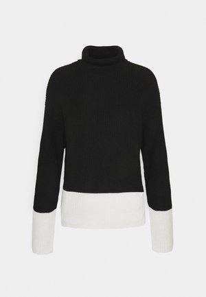 TURTLE NECK COLOR BLOCK - Strickpullover - black/white