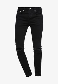 BLACK RIPPED KNEE STRETCH SKINNY FIT JEANS - Jeans Skinny Fit - black
