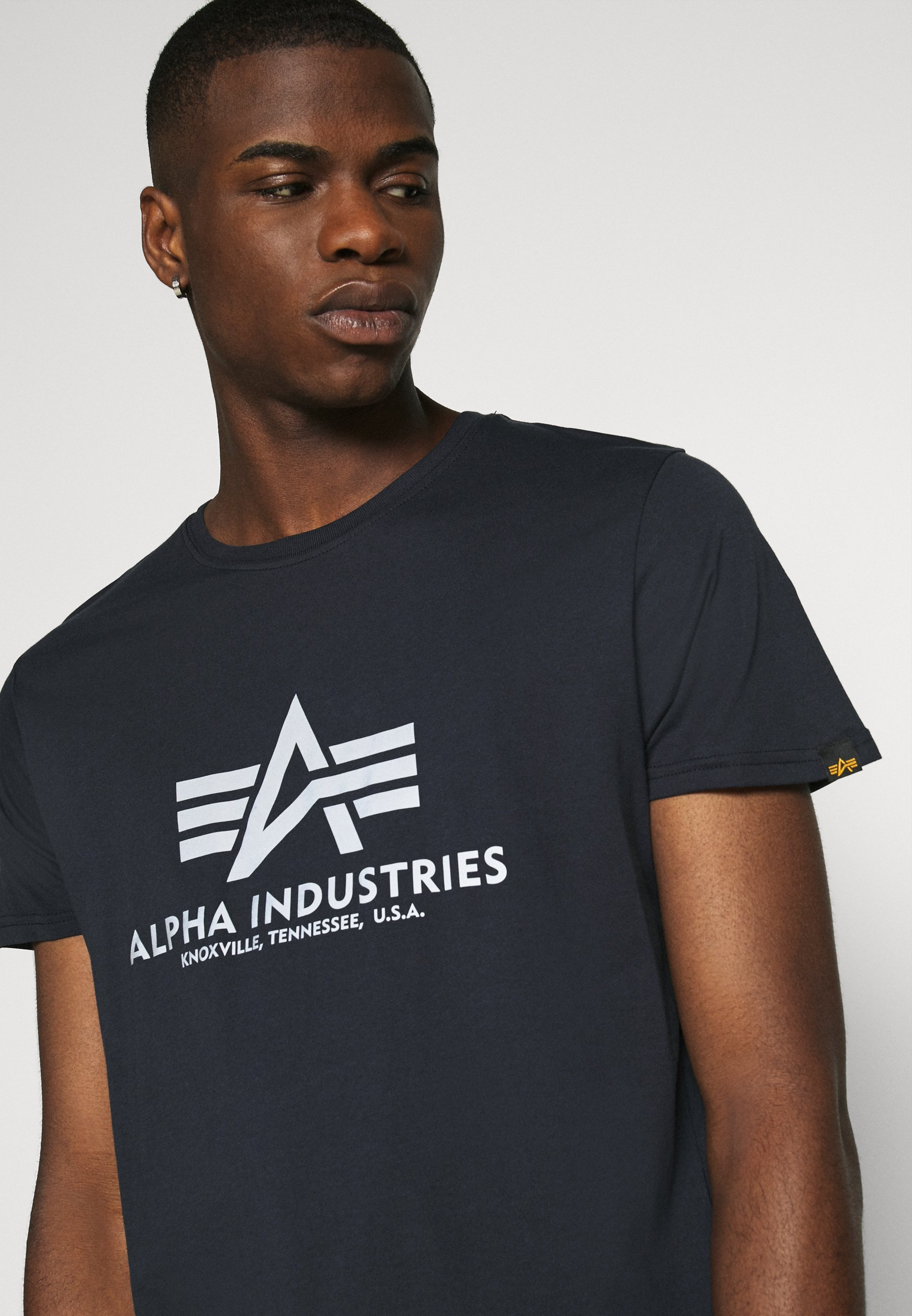 Alpha Industries BASIC REFLECTIVE - Print T-shirt - blue cboHI
