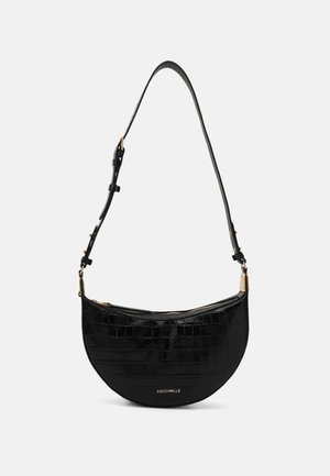 ANAIS CROCO SHINY HALF MOON  - Across body bag - noir