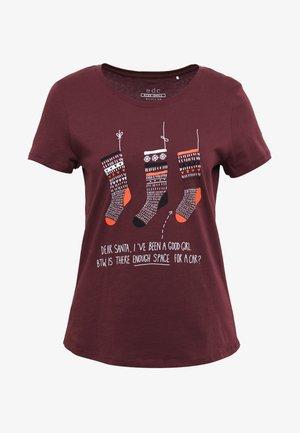 CORE CHRISTMAS - Print T-shirt - bordeaux red