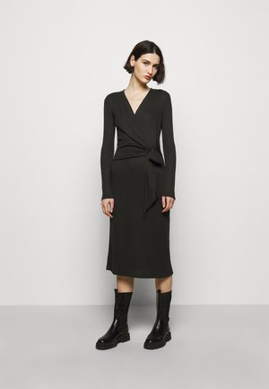 TIE MIDI DRESS - Robe pull - black