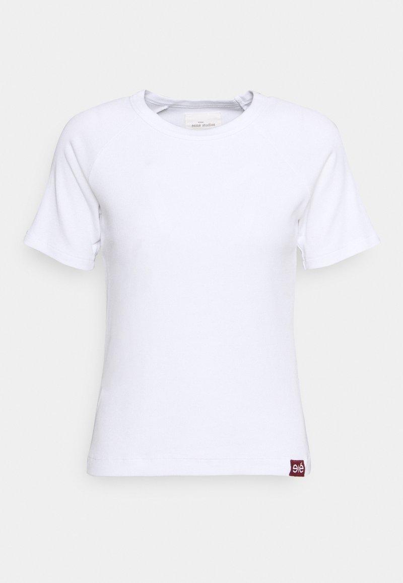 esmé studios - BLOSSOM O NECK - Jednoduché triko - white