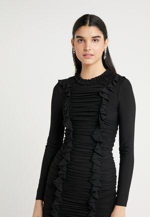RUFFLE MINI DRESS - Sukienka koktajlowa - ballet black