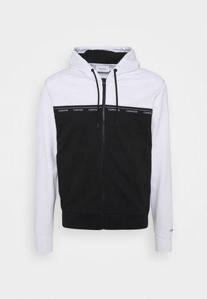 LOGO STRIPE ZIP THROUGH HOODIE - Zip-up sweatshirt - bright white/black