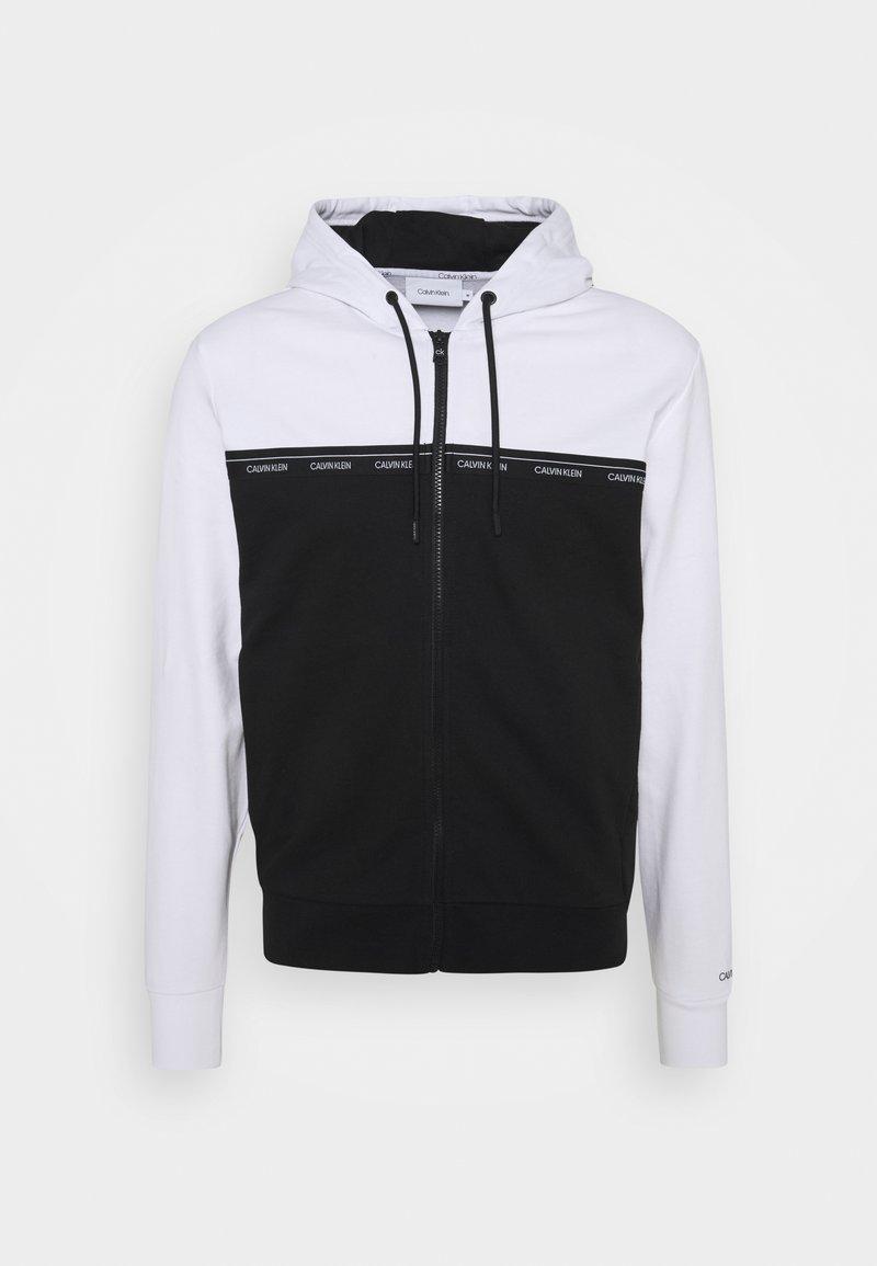 Calvin Klein - LOGO STRIPE ZIP THROUGH HOODIE - Zip-up sweatshirt - bright white/black