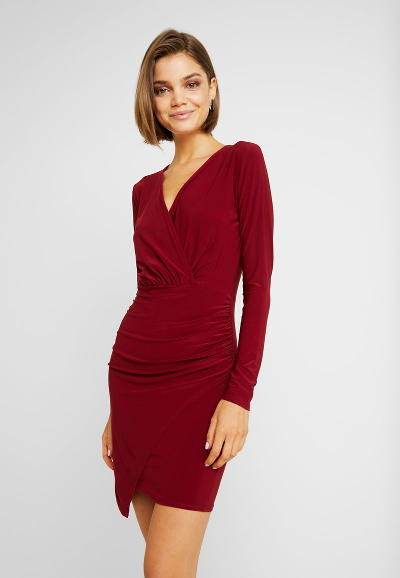 Missguided - SLINKY WRAP OVER MINI DRESS - Sukienka etui - burgandy