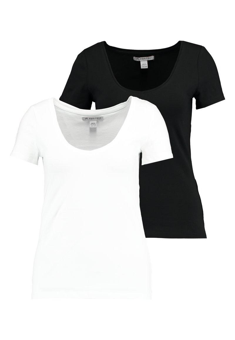 Anna Field - 2 PACK - T-shirt basic - white/black