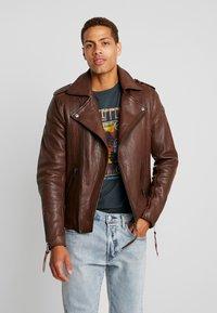 Tigha - FALCO - Veste en cuir - dark brown/beige - 2