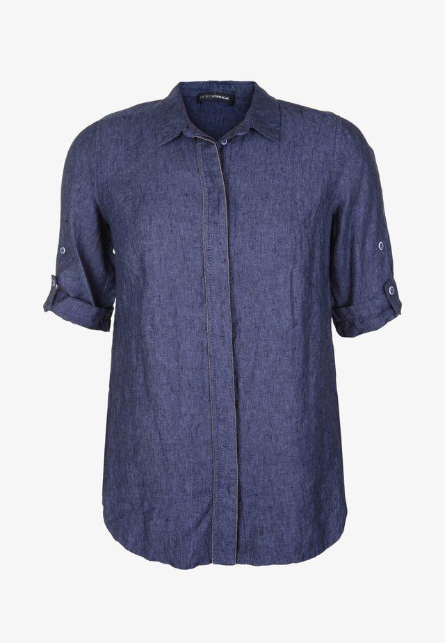 LEINENBLUSE MIT VERDECKTER KNOPFLEISTE - Button-down blouse - marine