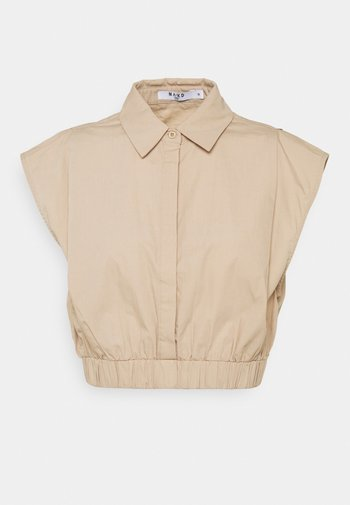 CROPPED WIDE SHOULDERS - Košile - beige